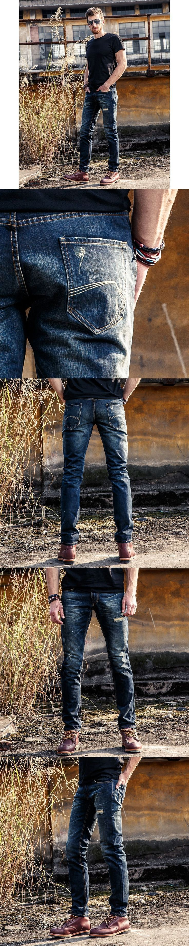 FuHao 2017 Ripped Jeans for Men Denim Overalls Mens Motorcycle Skinny Biker Jeans Slim Male Trousers,60035A