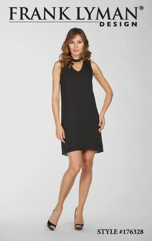 Stylish little black dress with choker neckline. Shorter length approx. 35 inches long. Proudly Made in Canada.