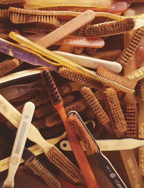 The first patented toothbrush was 1857, acquired by H.N. Wadsworth in the United States. What's interesting is that mass production of these toothbrushes didn't occur for another 28 years in 1885. I guess that is because tooth brushing never really caught on until the end of the WWII. It was part of a soldier's daily routine to clean their teeth, and this was something that they brought home with them. Here are some toothbrushes that were similar to North American toothbrushes at the time.