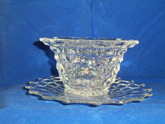 Fostoria American Mayonnaise Bowl & Underplate Vintage, American Fostoria Glassware, Crystal Glassware Vintage Bowl  by MarzipanTreasures on Etsy $18.00