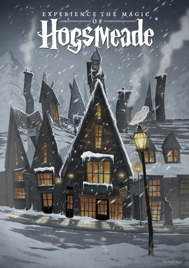 Hogsmeade Travel Poster - A gallery-quality illustration art print by Nicolas Rix for sale.