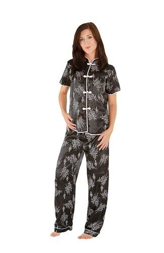 Black Womens Satin Pajamas
