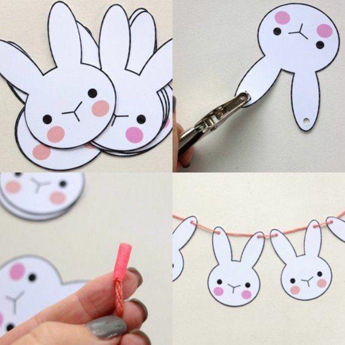 activité manuelle maternelle, primaire une guirlande de lapins blancs, activité manuelle de paques pour enfants
