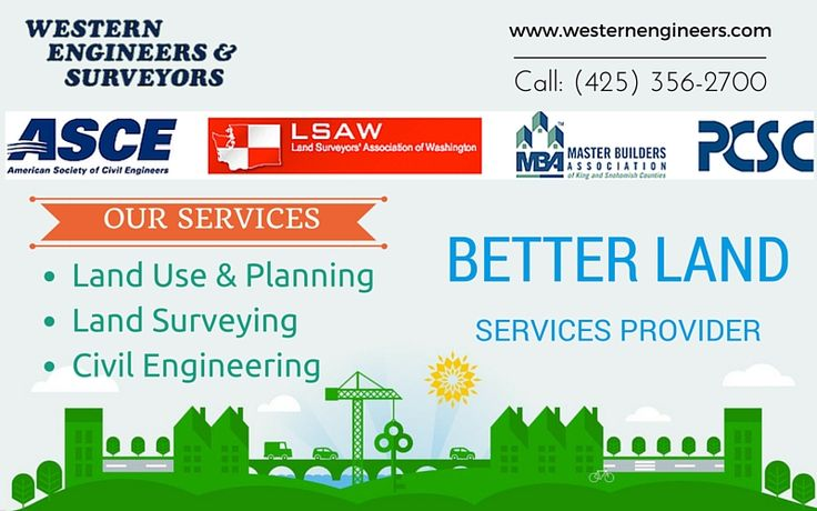 Hire a qualified Land Services in your region  Western Engineers & Surveyors have worked with a wide range of clients to determine the feasibility of all types of comprehensive plans and zoning ordinances. For more info call: (425) 356-2700 Visit: http://westernengineers.com/