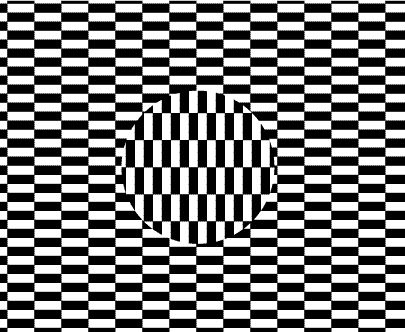 Try focusing on the center circle while moving your head...