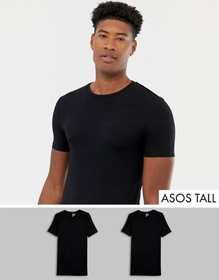 4d3e6e7e56cc ASOS DESIGN Tall organic muscle fit t-shirt with crew neck 2 pack MULTIPACK  SAVING