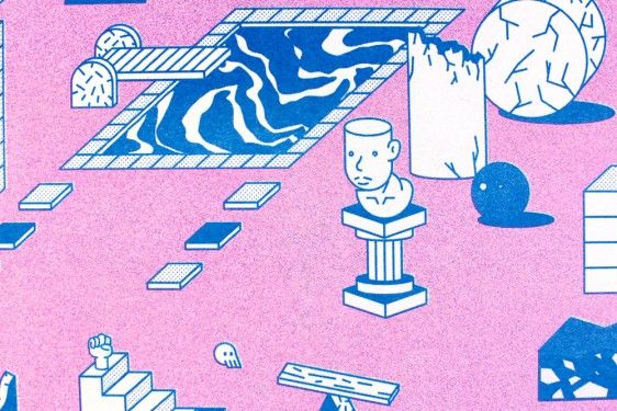 detail ; How the objects say (2014) by Tanawat Sakdawisarak Limited edition Risograph print 2-colour (Pink & Blue) on 225gsm Recycled paper 42 x 29.7 cm (A3) edition of 100