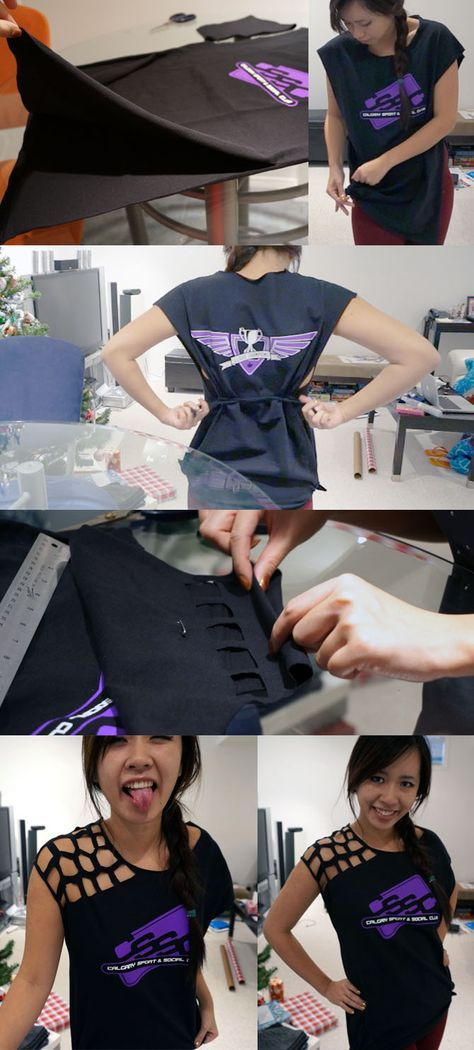 Tutorial on resizing an oversized t-shirt into a cool workout top!