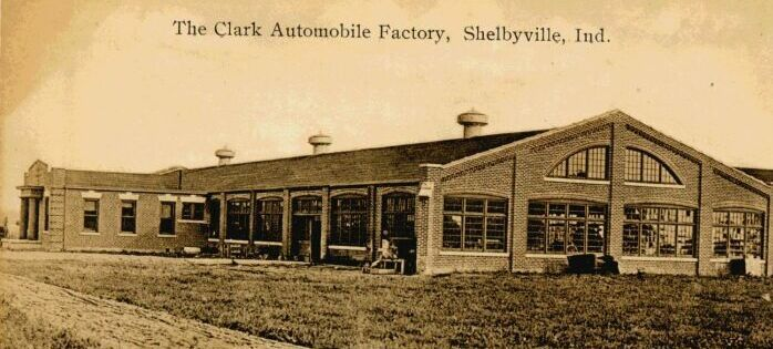 "Clark Motor Car Company on S. Miller St. in Shelbyville, Indiana.   Sometime in the early 1900s, John D. Clark, backed by  A. J. Thurston  and  Joe Akers, started the Clark Company.  The company manufactured the ""Clark 30"" (1910) and the ""Clark 40"".  In 1912, the company was purchased by  Maurice Wolfe, became the Meteor Motor Car Company, and moved to Piqua, OH."