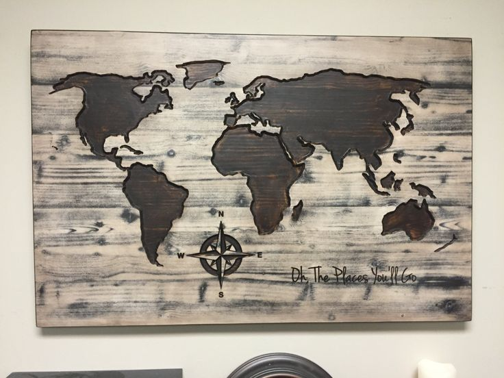 modern rustic office. world map wall art oh the places youu0027ll go vintage carved wood modern u2026 rustic office