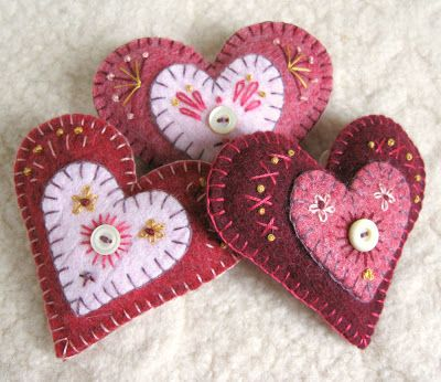 Hand embroidered felt hearts