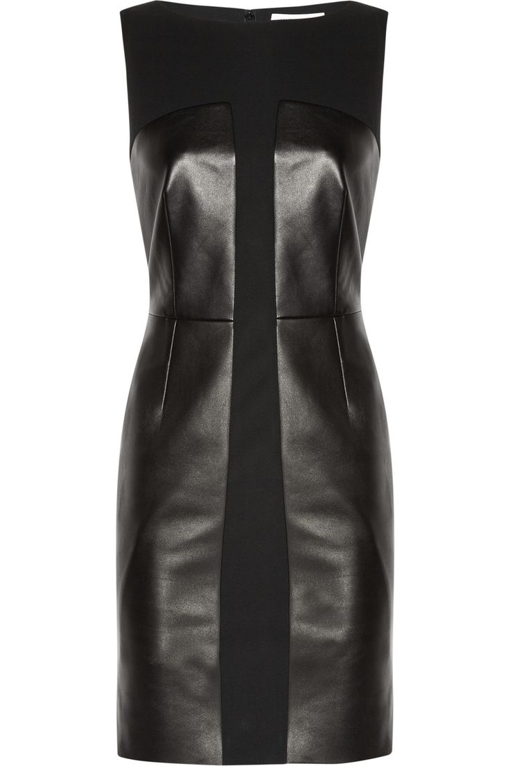 Yves Saint Laurent Leather and stretch-wool crepe dress