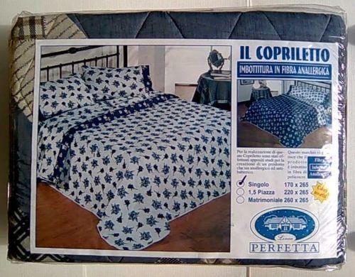 TRAPUNTA COPRILETTO SINGOLO 170X265 IMBOTTITURA IN FIBRA ANALLERGICA