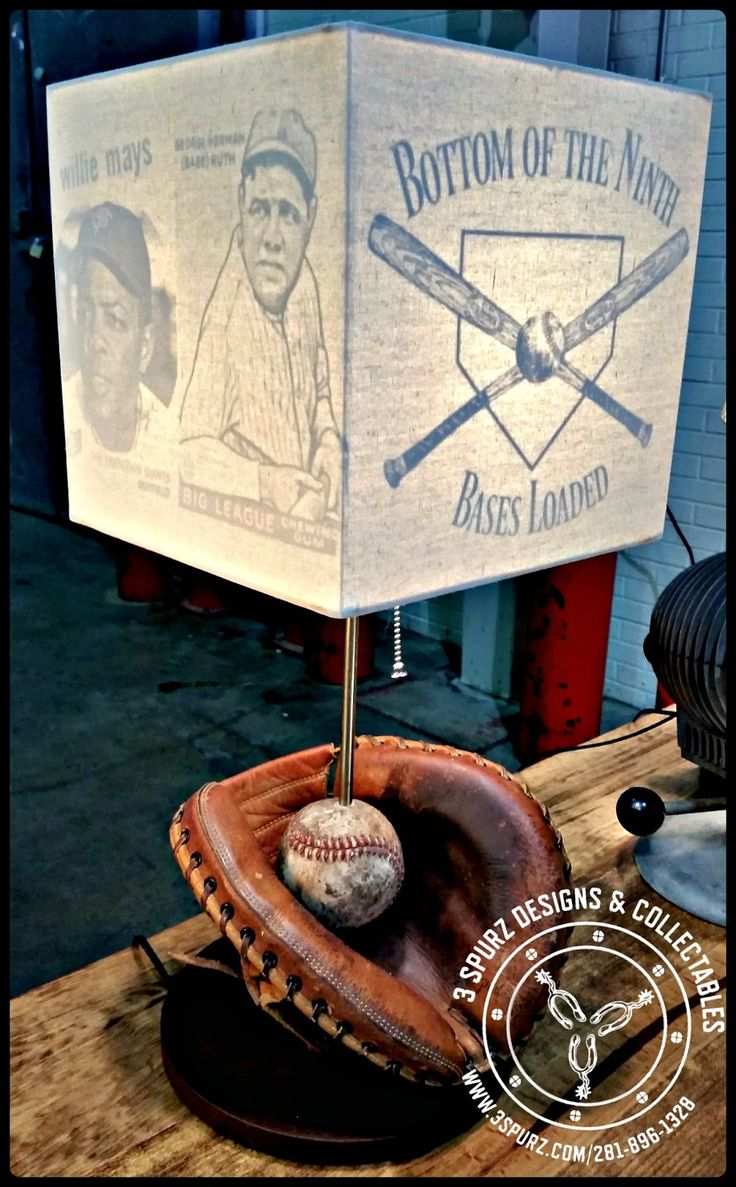 This well used catchers mitt and ball have been turned into a lamp, with a custom lamp shade with baseball theme. Follow us for more wonderful pins at http://pinterest.com/3spurzdandc/ http://facebook.com/ http://www.3spurzdesignsandcollectables.com/home 3 Spurz D&C Repurposed /Refurbished Creations!!