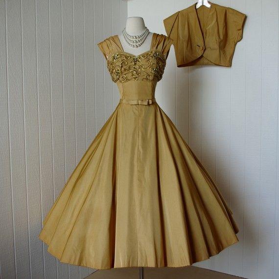 vintage 1950s dress ...decadent rich matte gold taffeta full circle skirt dress with embellished bust and jetson bolero