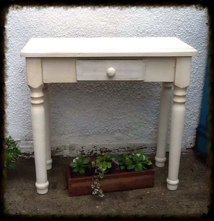 Handmade pine console painted in French Cream and a little dark wax