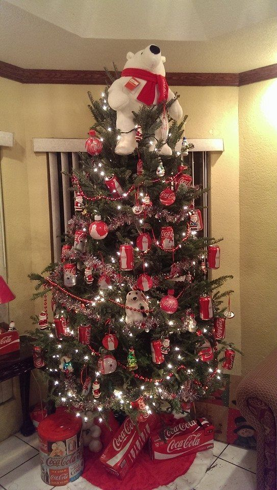 Coca Cola Christmas Tree - love the Coca Cola Bear as a tree topper                                                                                                                                                     More