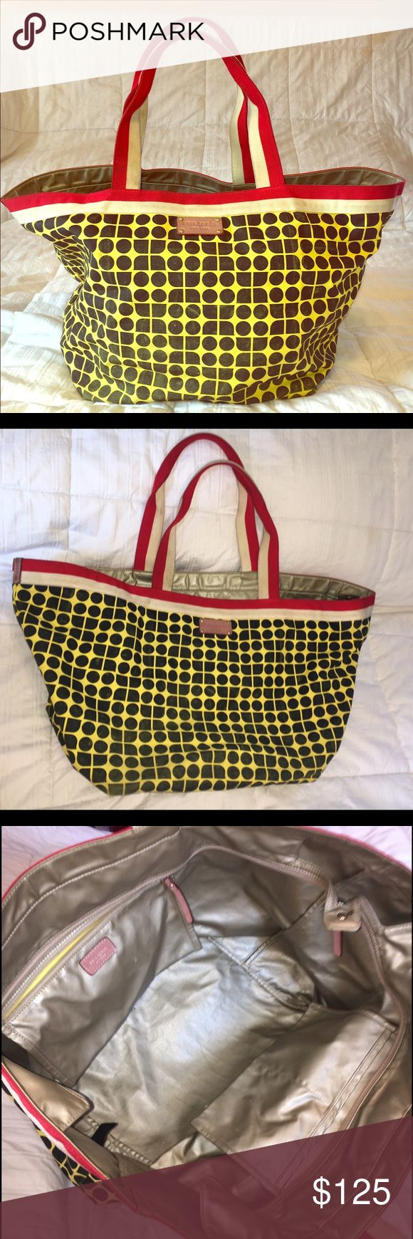 "⛱KATE SPADE⛱ Large Canvas Tote Large canvas tote bag with top zipper to keep things safe and fully lined with waterproof material. The bright yellow fabric is perfect for sunny days at the park or beach! Zipper pocket inside to store small stuff and two other pockets for cell phone and ""extras"". kate spade Bags Totes"