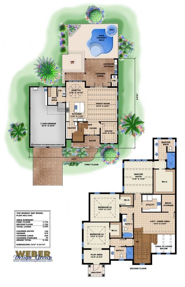 Olde Florida House Plan | Morant Bay Floor Plan by Weber Design Group
