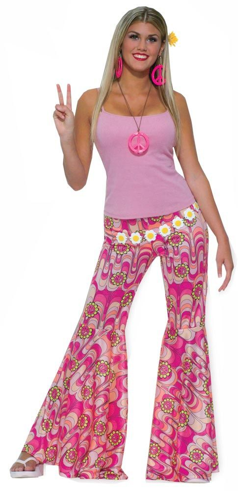 Seventies+Fashion+Women | Home >> 70s Costumes for Women >> Womens Pink Flower Power Hippie