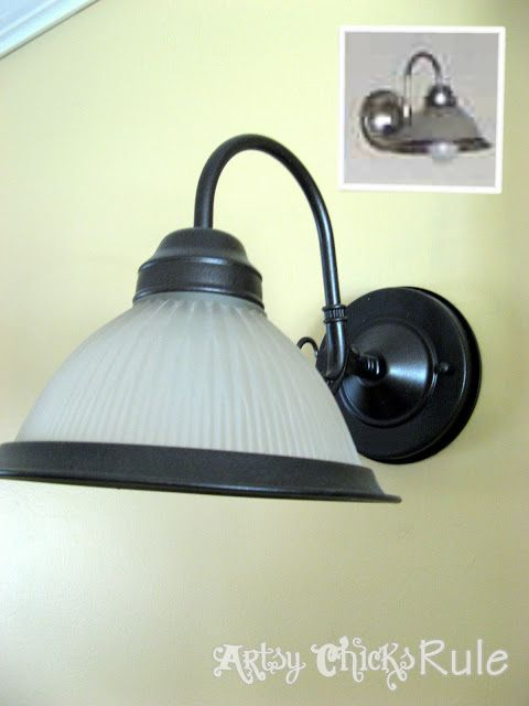 Want new lighting without all the expense?? Brushed Nickel to Oil Rubbed Bronze ---> with a quick spray of Oil Rubbed Bronze spray paint! #oilrubbedbronze