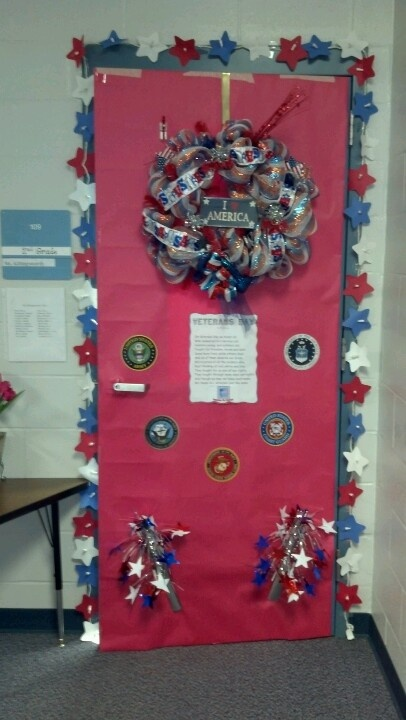 Door Decorated For Veterans Day Veterans Day 4th Of July