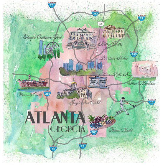 Atlanta Karte Mit Touristischen Top Ten Highlights Im Retro Stil
