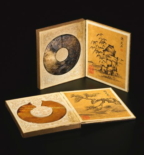 PAIR OF IMPERIAL ALBUMS BY THE QIANLONG EMPEROR AFTER NI ZAN, INSET WITH JADE DISCS