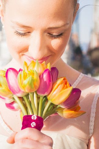 Bright Yellow and purple tulips for bridal bouquet