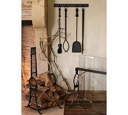 Fireplace Screens, Fireplace Accessories & Tools | Pottery Barn--This is just smart: HANG THE TOOLS ON THE WALL! Way more kid-friendly too.