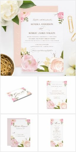 Pastel Romantic WEDDING SET COLLECTION  Pink Floral Flowers Watercolor Peonies Invite Invitation Announcement RSVP Pretty Personalized Cards & More!