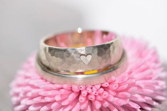 Wedding rings white gold hammered my by MarlunaSchmuckdesign