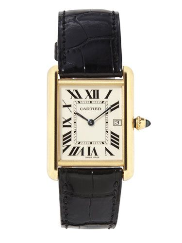Classic, vintagey-looking men's timepieces–like Franck Muller, Cartier, and Hermès. Here: Cartier watch.