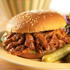 BBQ'd pulled pork sandwiches/burgers.