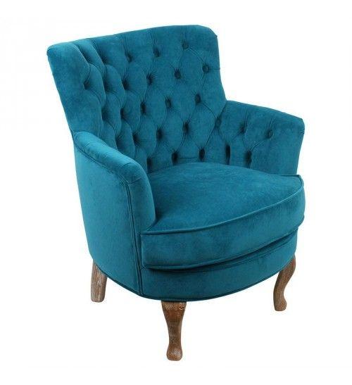 FABRIC ARMCHAIR WITH BLUE VELVET W_WOODEN LEGS 62Χ70Χ75