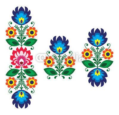 Zdjęcie Folk embroidery with flowers - traditional polish pattern | Fototapety | Dekoracje Na Wymiar