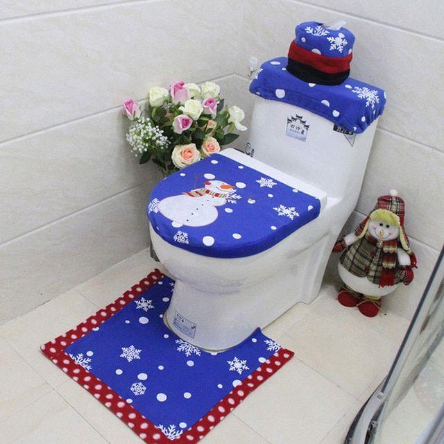 1 2 3pcs Bath Mat Toilet Seat Cover Christmas Rug Tank Lid Towel
