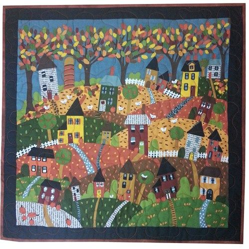 "Winter Scene Quilted Wall Hanging measures approximately 22"" wide x 22"" long  Wonderful Autumn Town scene Panel from the ""Good Seasons"" line of fabrics by Carol Eldridge for Andover Fabrics was used t"