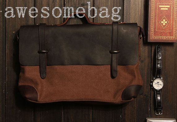 "15""Superior Genuine cross -body bag Cow Leather canvas bag /   Briefcase /  Messenger bag /leather  Laptop bag / Mens leather satchel(6896)"