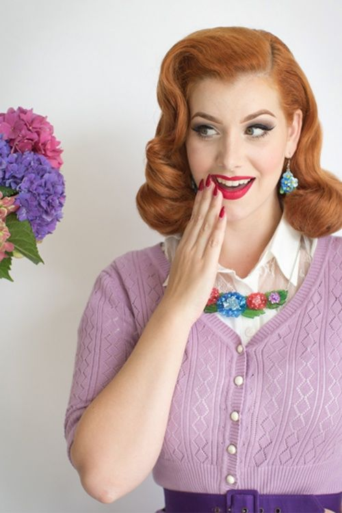 We love this 60s Harmonious Hydrangea Necklace by Erstwilder worn by the stunning Miss Victory Violet.