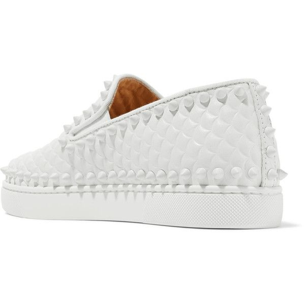 Christian Louboutin Pik Boat spiked textured-leather slip-on sneakers ($805) ❤ liked on Polyvore featuring shoes, sneakers, leopard print slip-on shoes, white slip on shoes, boat sneakers, christian louboutin sneakers and slip-on shoes