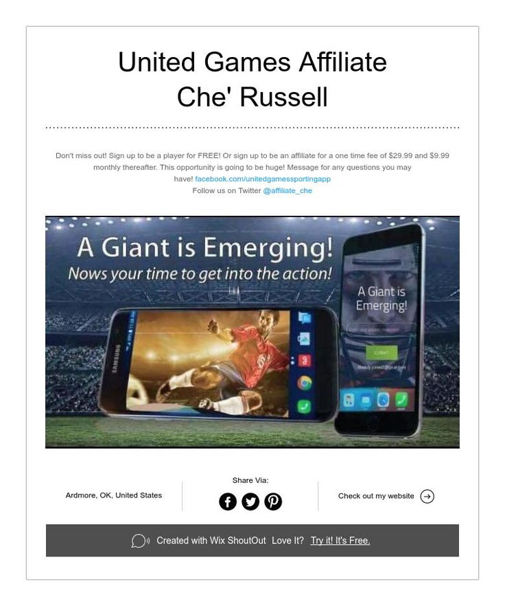 United Games Affiliate  Che' Russell