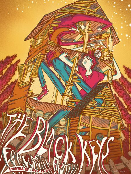 I can't remember if I've already posted this, but this is the Black Keys Forecastle 2013 poster. I LOVE this poster! Definitely one of my favorites in my collection. By James Flames Posters