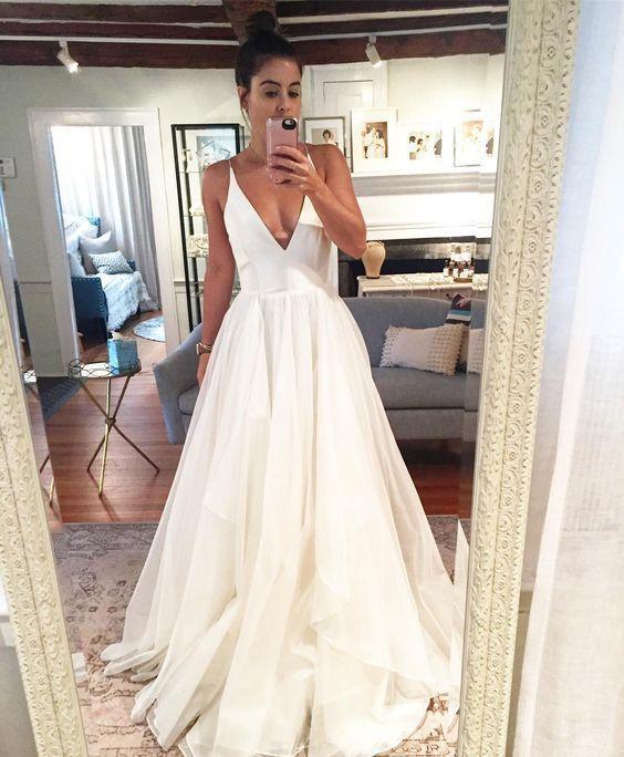 Charming A Line V Neck Backless Chiffon Wedding Dress