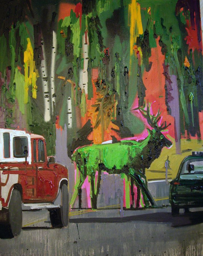 """Kim Dorland, Crossing Elk, 2006, oil acrylic and spray paint on linen, 48""""x 60"""" Found on kdorland.com"""