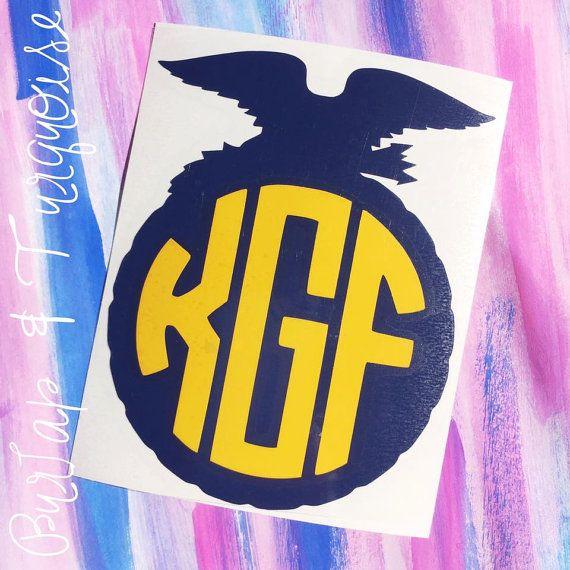 FFA Emblem Monogram Decal by BurlapAndTurquoise on Etsy
