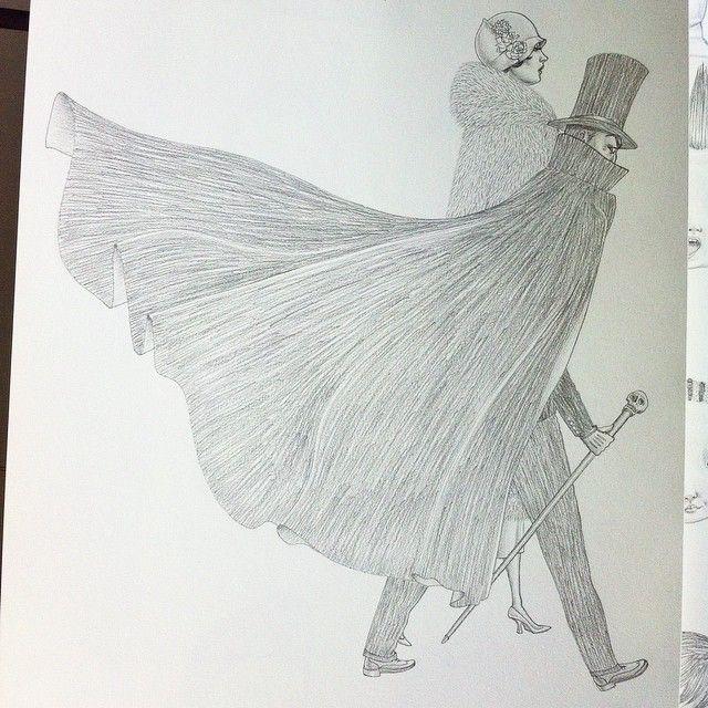 """좋아요 23개, 댓글 2개 - Instagram의 Jason Raish(@jasonraish)님: """"#cape #1920s #paris #aleistercrowley #flapper #graphite #illustration #drawing"""""""