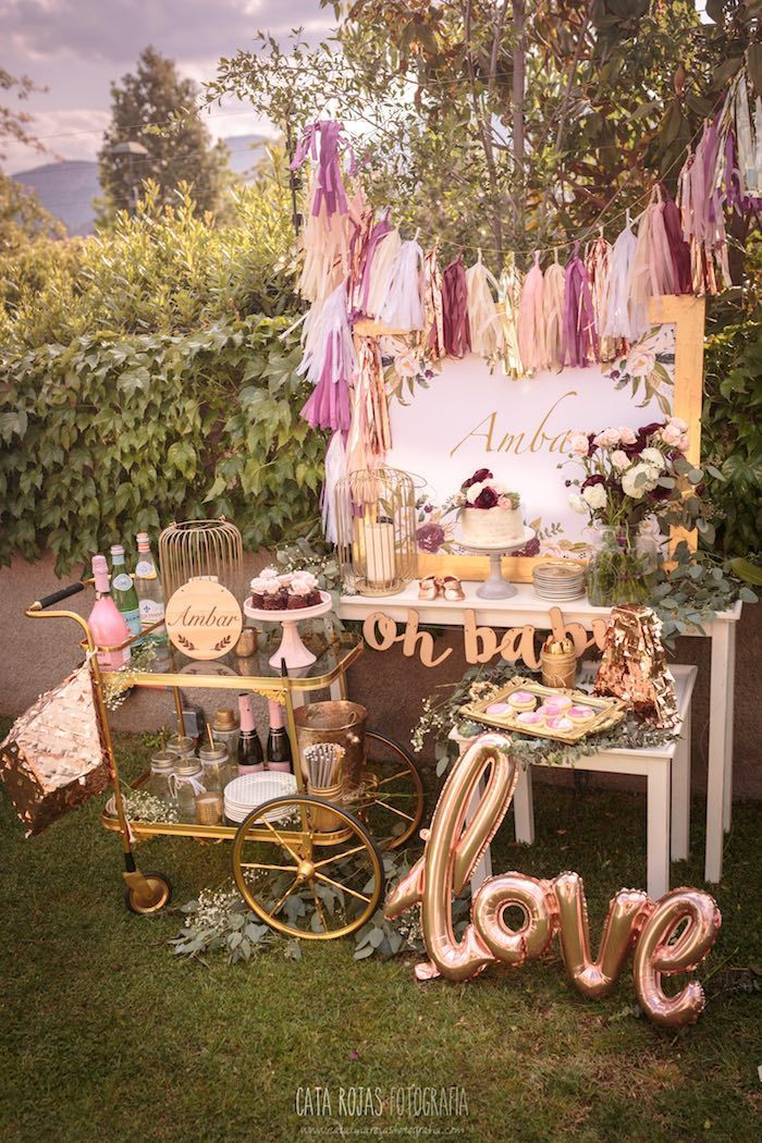 Burgundy, Blush & Gold Boho Baby Shower | decoration ...