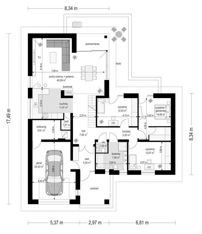 projekt-domu-parterowy-rzut-parteru