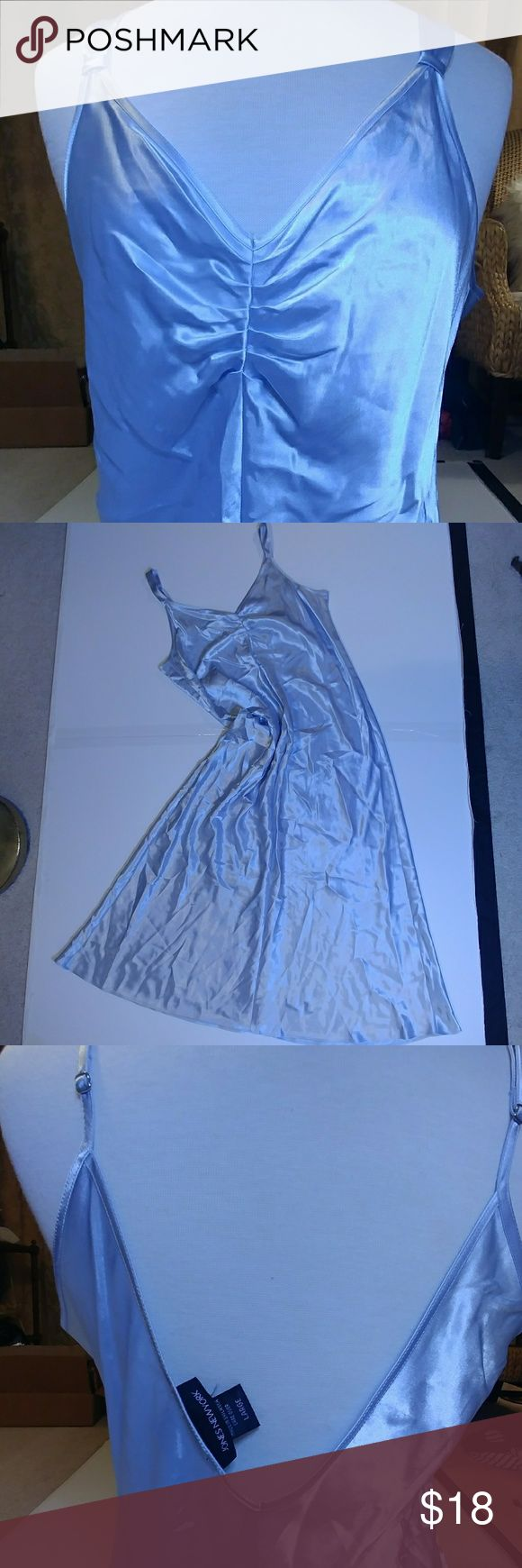 satin night gown, light bue NWOT, it had a tag and I cut it off by mistake. This was a 2 piece set, I don't have the robe. Pretty for sleeping or if you're like my girls, toss a chunky sweater over, add boots and go! Non smoking home. Jones New York Intimates & Sleepwear Chemises & Slips